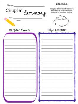 Chapter Summary Template | Chapter Summary Template By Cathryn Elliott Teachers Pay Teachers