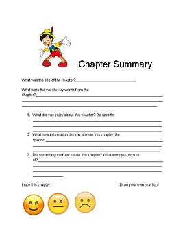 """Chapter Summary page for """"The Adventures of Pinocchio"""""""