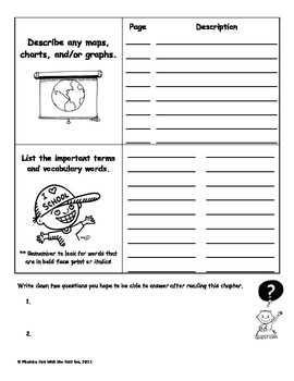 Chapter Survey Pre-Reading Graphic Organizer for Informational Text
