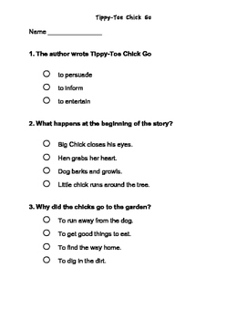 Chapter Test- Tippy Toe Chick Go    -Reading Street 2013