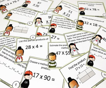 4th Grade Math Center Multiplication of 2 Digit Numbers Activity