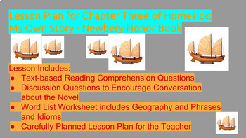 Chapter Three Lesson Plan For Teaching Jean Fritz S Homesick My Own