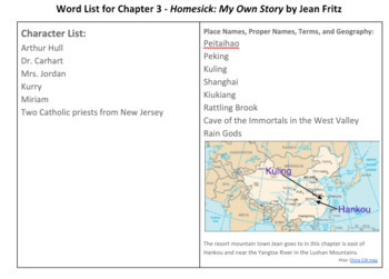Chapter Three Lesson Plan for Teaching Jean Fritz's Homesick: My Own Story