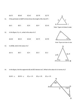 Chapter Three Review Problems: Honors Geometry