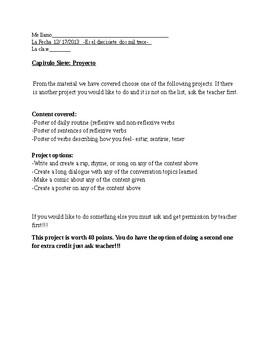 Chapter Topic Project- health(estar, sentirse), reflexive w/ non reflexive verbs