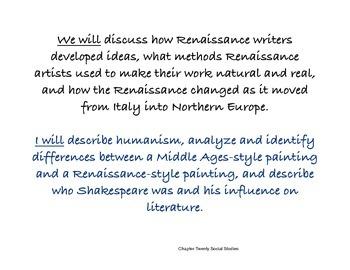 Chapter Twenty Social Studies Framing the Lesson Renaissance