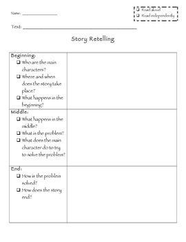 Chapter and Story Retelling / Summarizing Graphic Organizer *