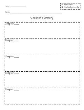 Chapter and Story Retelling / Summarizing Graphic Organizer *