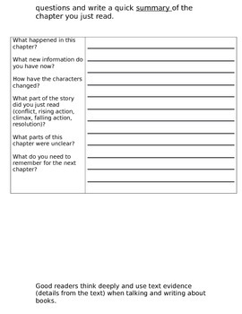 Chapter book Guide Template-EDITABLE