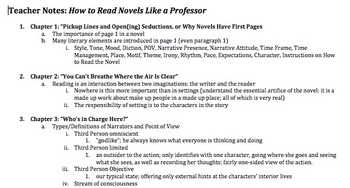 Chapter-by-Chapter Outline How to Read Novels Like a Professor-Thomas C. Foster