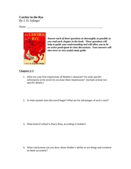 "Chapter by Chapter Question for ""Catcher in the Rye"""