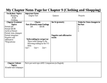 Chapter overview handout