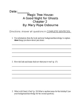 Chapter questions for Magic Tree House: A Good Night For Ghosts