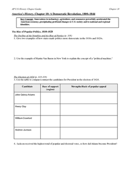 Chapter reading guides for America's History AP textbook by Henretta, Ch.10-15