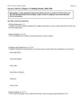 Chapter reading guides for America's History AP textbook by Henretta, Ch.1-9