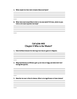 Chapters 1-7 Call of the Wild-Reading Guide Question