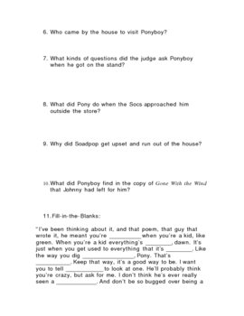 Chapters 10-12 Quiz The Outsiders by S.E. Hinton