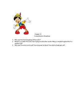 """Chapters 11-16 Comprehension Questions for """"The Adventures of Pinocchio"""""""