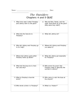 Chapters 4-5 Quiz The Outsiders by S.E. Hinton