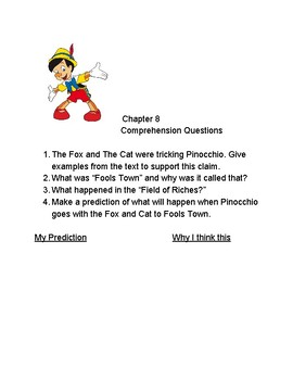 "Chapters 6-10 Comprehension Questions for ""The Adventures of Pinocchio"""