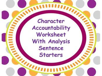 Character Accountability Worksheet