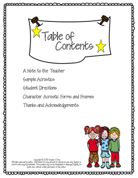 Character Acrostics—A Poetry Activity for Sharing ANY Novel