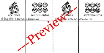Character Actions and Feelings Graphic Organizer (Bilingual)