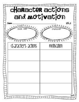 character actions and motivation graphic organizer ccss aligned tpt. Black Bedroom Furniture Sets. Home Design Ideas