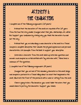 Character Activity for ANY Novel