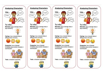 Character Analysis Bookmarks Guided Reading Close Reading
