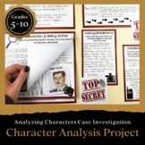 Character Analysis Case File Featuring Foreshadowing & Context Clues + DIGITAL