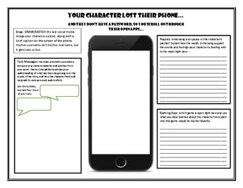 Character Analysis Cellphone Graphic Organizer for Any Novel/Short Story