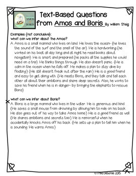 Character Analysis Close Read for Amos and Boris {Character Series Week 3}