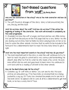 Character Analysis Close Read for Wolf Sample FREEBIE {Character Series Week 1}