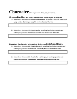 Character Analysis Complete Assessment