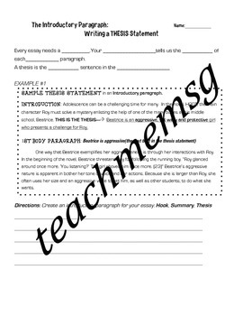 Character Analysis Essay Activity Pack + Outline