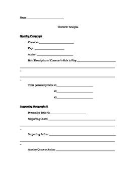 Character Analysis Essay Teaching Resources  Teachers Pay Teachers  Character Analysis Essay Assignment  Prewriting  Peer Edit