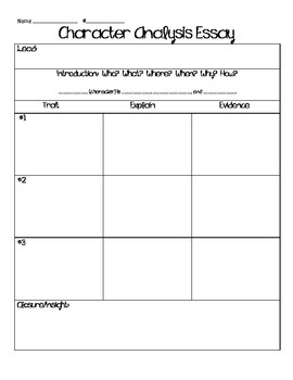 character analysis essay graphic organizer by keep calm and teach  character analysis essay graphic organizer