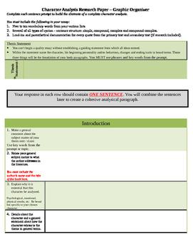 Character Analysis Essay Graphic Organizer