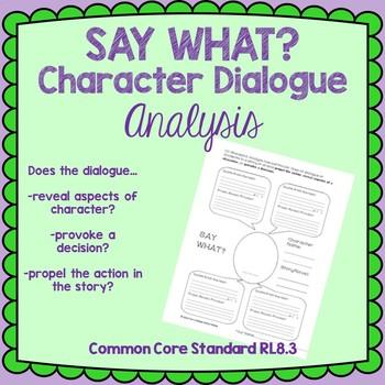 Say What? Character Dialogue Analysis Graphic Organizer (RL8.3)