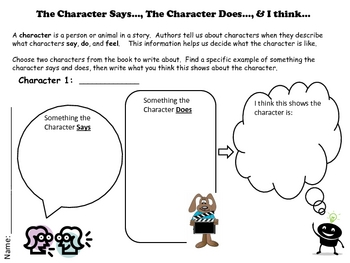 Character Analysis - Graphic Organizer - Character Actions/Traits