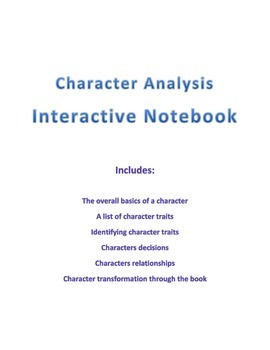 Character Analysis Interactive Reading Notebook Pages