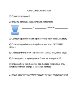 Character Analysis List for Reading Notebook