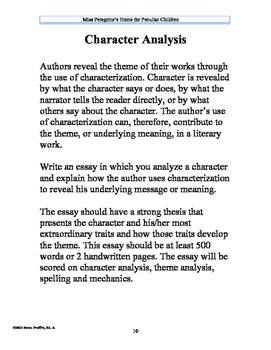 Character Analysis Miss Peregrine's Home for Peculiar Children