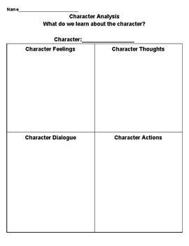 Character Analysis Note-Taking