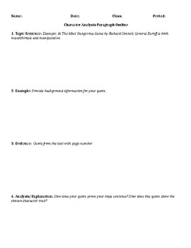 Character Analysis Paragraph Outline Worksheet
