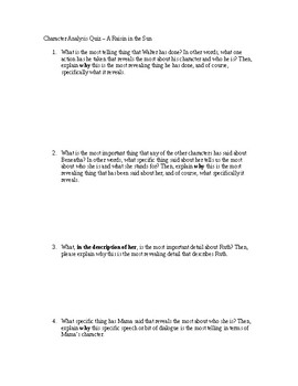 Character Analysis Quiz for A Raisin in the Sun
