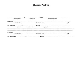 Character Analysis: Research and Paragraph Organizer
