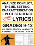 Character Analysis, Setting and Story Elements with Music Lyrics: No Prep Lesson