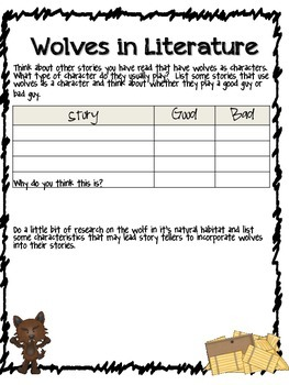 Character Analysis, Story Comparison and Persuasive Writing with The Wolf